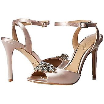 BADGLEY MISCHKA Womens Hayden Fabric Peep Toe Special Occasion Ankle Strap Sa...