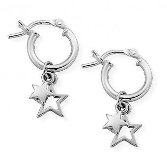 ChloBo SEH738 Women's Double Star Small Hoop Earrings