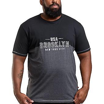 Duke D555 Hombres Osbert Big Tall manga corta Crew Cuello Brooklyn Camiseta - Negro