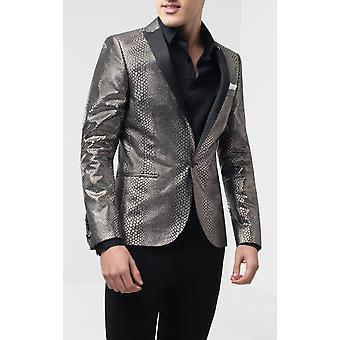 Gedraaide kleermaker mens zilveren Tuxedo jas skinny fit slangenhuid patroon contrast revers