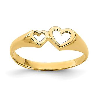 6 febmm 14k Gold Double Heart Cut out Ring Size 7 Jewelry Gifts for Women