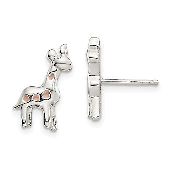 925 Sterling Silver Polished Enamel Giraffe for boys or girls Post Earrings