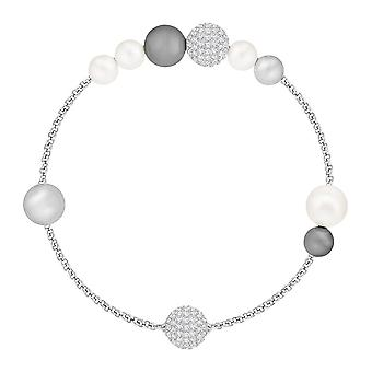 Swarovski Remix Rhodium Plated With White & Silver Pearl Bracelet