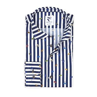 R2 Long Sleeved Shirt Navy Floral Stripe