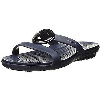 Crocs Women's Sanrah Metal Block Slide Sandal, Silver/Navy, Size 5.0