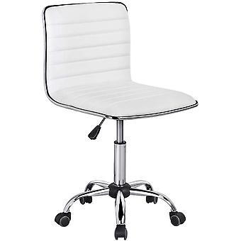 Swivel Computer Desk Chair Faux Leather Adjustable Armless Home Office Task Chair White