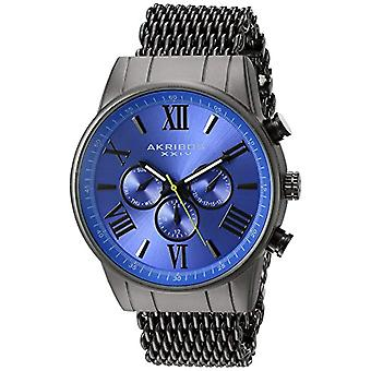 Akribos XXIV men's watch quartz watches with analog Display and stainless steel Bracelet, grey