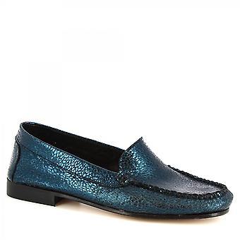 Leonardo Shoes Women's handmade loafers shoes blue calf leather crocodile print
