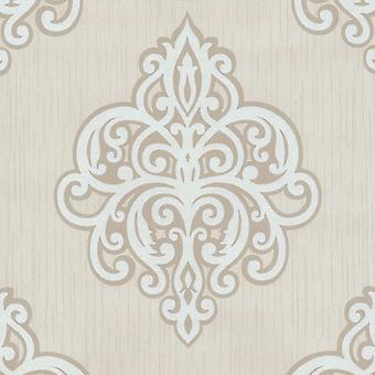 Opal Damask Glitter Fond d'écran Beige et Blanc P-S 02491-60