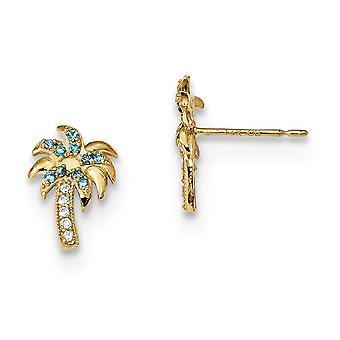 14k Madi K blauw en duidelijk CZ cubic Zirconia gesimuleerde diamant palm tree post oorbellen maatregelen 11,2x7,6 mm brede sieraden G
