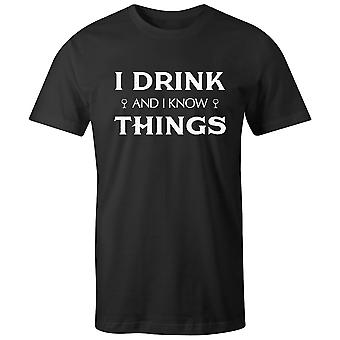 Boys Crew Neck Tee Short Sleeve Men's T Shirt- I Drink And I Know Things
