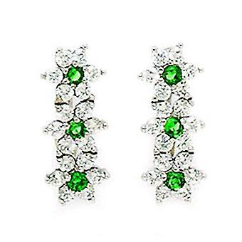 14k oro blanco mayo verde CZ grande triple flor Leverback pendientes medidas 17x7mm regalos de joyería para las mujeres