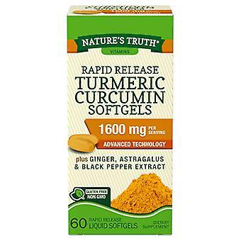 Nature's waarheid snel vrijkomen kurkuma curcumine, 1600 mg, softgels, 60 ea