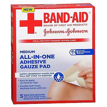 Band-aid adhesive gauze pads, medium, 5 ea