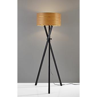 "19.5"" X 19.5"" X 62"" Black Wood Metal Floor Lamp"