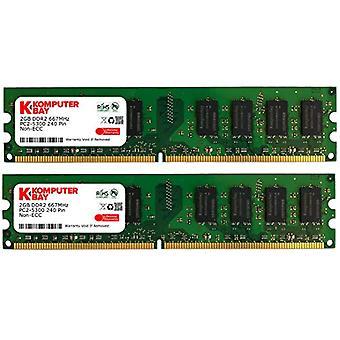 Komputerbay 4GB (2x2GB) DDR2 667mHz PC2-5300 PC2-5400 DDR2 667 (240 PIN) DImm Desktop Memory