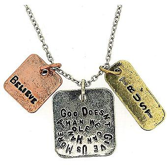 """""""God Doesn't Give Us More Than We Can Handle"""" Triple Charm Tag Pendant 16""""+3"""""""
