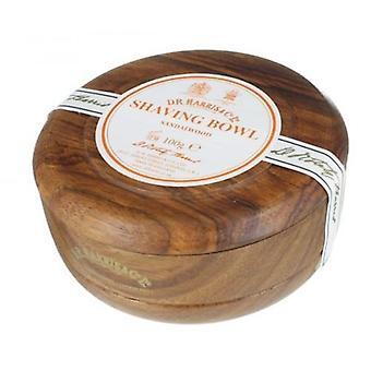 D R Harris Wooden Shaving Bowl + Soap 100g-Sandalwood-Mahogany effect