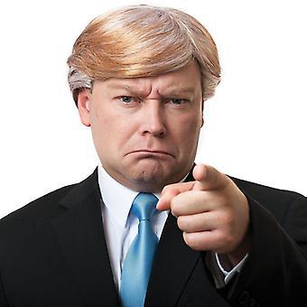 Trump paruka - zlatá blondýnka s bílými smyčkami