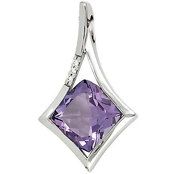 Women's Pendant 585 Gold White Gold 1 Amethyst Purple Violet 3 Diamonds Brilliant
