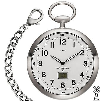 JOBO pocket watch radio with chain white stainless steel with date