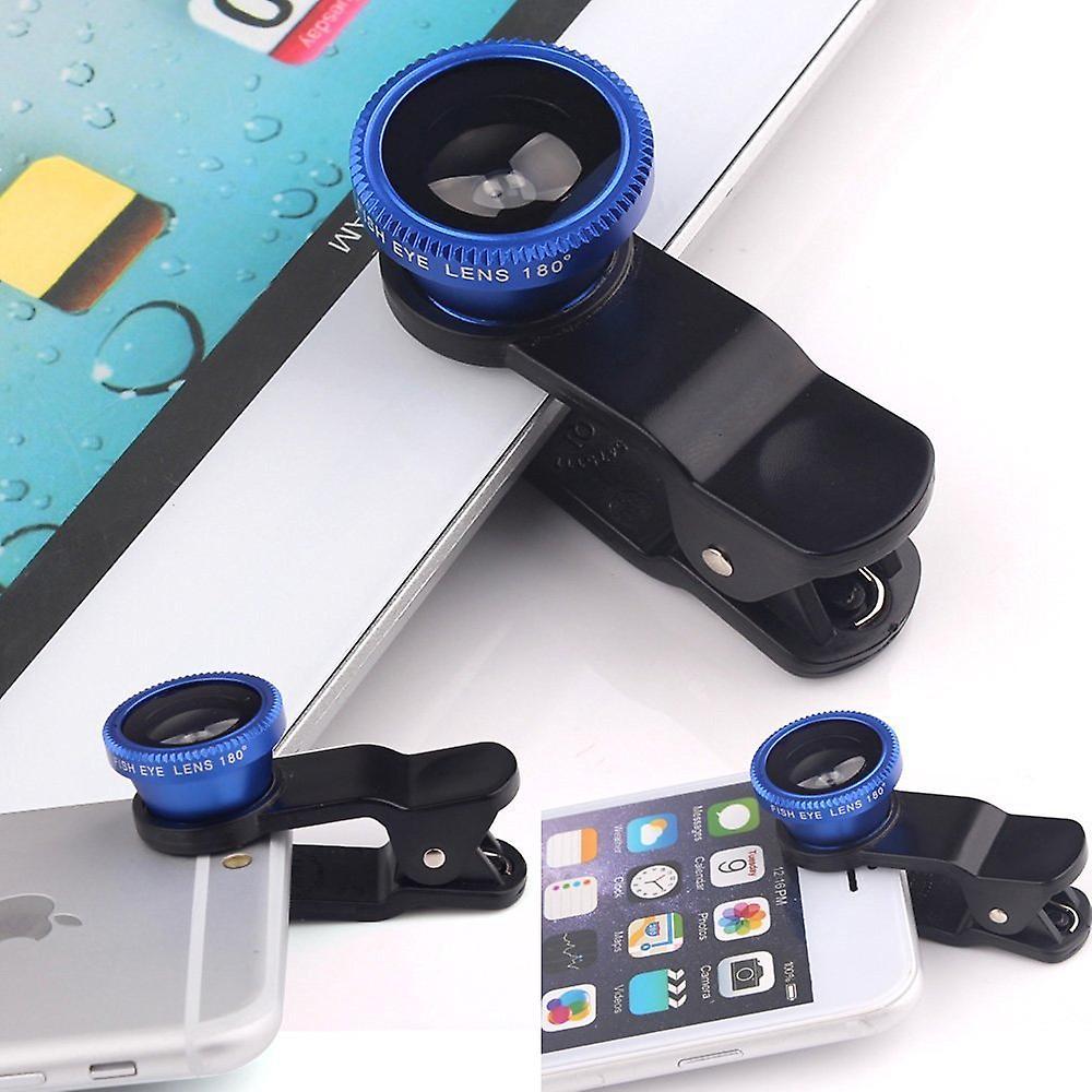 ONX3 Lenovo K6 (blu) 3 in 1 telefono fotocamera lente Kit Fisheye Lens + grandangolare + obiettivo Macro con universale gradi clip-on 180 per sia Android e iOS dispositivi