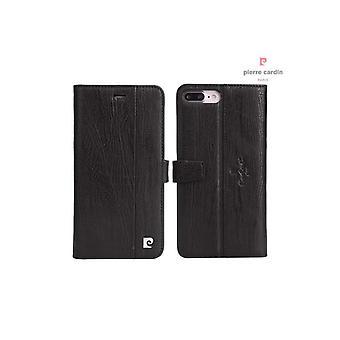 Pierre Cardin Leder Bücherregal Fall iPhone 8 Plus / 7 Plus - schwarz