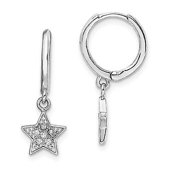 925 Sterling Silver Rhodium plated Hoops With CZ Cubic Zirconia Simulated Diamond Star Long Drop Dangle Earrings Jewelry