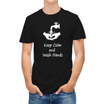 Allthemen Men's 3D Printed Wash Hands Short T-Shirt Black