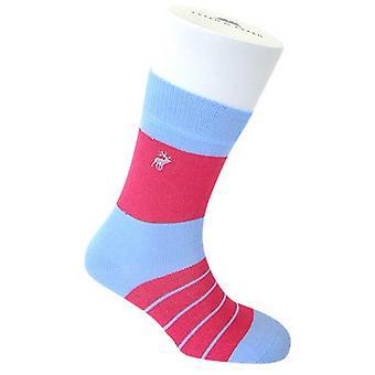Tyler e Tyler Single listra meias - azul claro/rosa brilhante