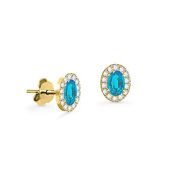 Earrings Princess 18K Gold and Diamonds with Ruby | Emerald | Sapphire - Yellow Gold, Aqua Marine