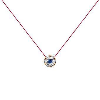 Collier duchesse Full Diamond on Sapphire and 18K Gold, On Thread - Rose Gold, Fuschia