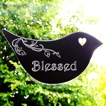 Floral Dove Acrylic Mirror Door or Wall Sign - BLESSED