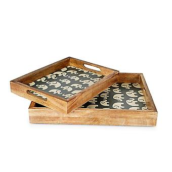 Penguin Home Elephant Print Wooden Serving Trays Set of 2