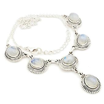 Moonstone Necklace 925 Silver Sterling Silver Chain Necklace White (MCO 08-04)
