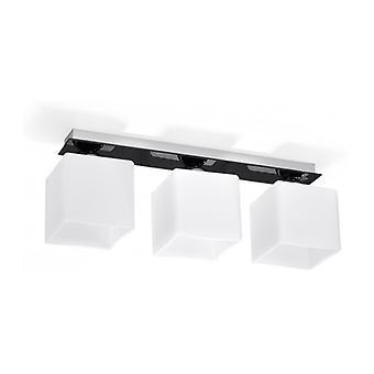 Piazza Ceiling Light Glass / Float Glass White / Black 3 Bulbs