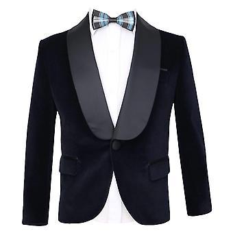 Kingsman Harry Hart velluto giacca da smoking blu marino per i ragazzi
