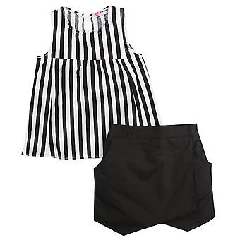Girls Vest T-Shirt And Shorts Striped