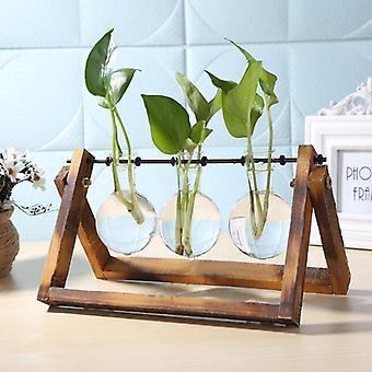 Glass And Wood Vase Planter, Terrarium Table Desktop Hydroponics Plant Bonsai