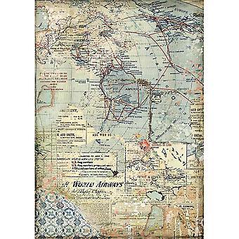 Stamperia Rice Paper A4 Maps