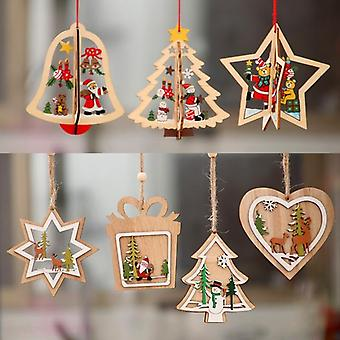 Christmas Decor Ornament Wooden Hanging Pendants - Star Xmas Tree Bell Christmas Decorations For Home Party New Year Decor