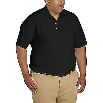 Essentials Men's Big & Tall Quick-Dry Golf Polo Shirt fit by DXL, Blac...