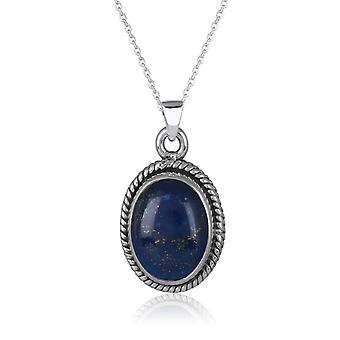 ADEN 925 Sterling Argent Lapis Lazuli ovale Forme Pendentif Collier (id 4287)