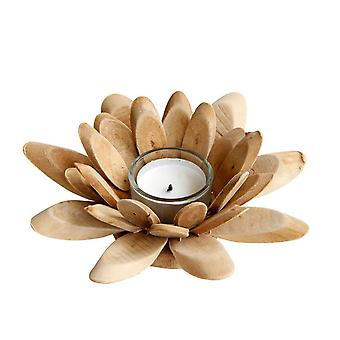 Wooden Lotus Petal Blossom Incense Candle Holder Home Decor