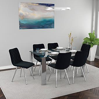 Daisy/Gianna 7Pc Dining Set - Chrome Table/Black Chair