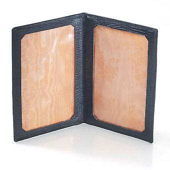 Black Oak Grain Leather Travel Photo Frame