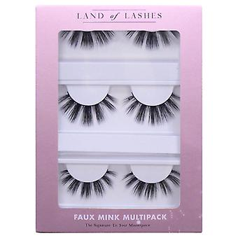 Land of Lashes Faux Mink False Eyelashes Multipack - Bohemian Fake Lash - 3 Pair