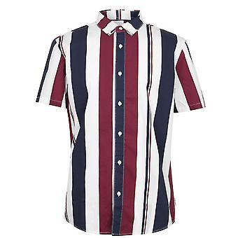 Soviet Mens Stripes Shirt Folded Collar Button Fastening Short Sleeve Top