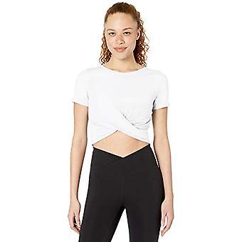Core 10 Frauen's weiche Pima Baumwolle Stretch Twist Front abgeschnitten Yoga T-Shirt, Wh...