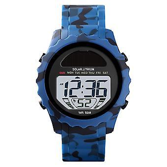 Skmei Solar Powered Digital Watch ResinStrap Alarm Light Stopwatch Camo Blue